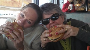 Hey!  We have to eat you know? Pam W. and Pam S. enjoying a burger at Burger King!