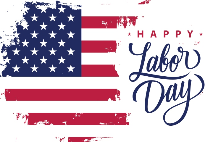 Happy Labor Day holiday banner with brush stroke background in United States national flag colors and hand lettering text design.